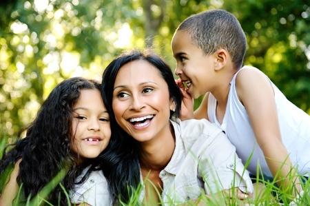 Happy single mom family